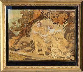 George III Silk Embroidery, dated 1810