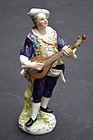 German Porcelain Figure of Man with Mandolin