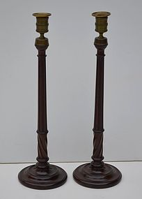 Pair of George III Mahogany Candlesticks, 19thC