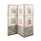 French Three Panel Wallpaper Painted Screen, 19thC
