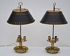Pair of French Silvered Bronze Bouillotte Lamps
