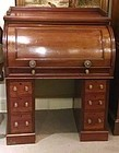 English Victorian Cylinder Pedestal Desk, circa 1850