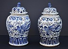 Pair of Chinese Porcelain Blue and White Jars, 20thC