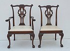 Set of Six George III-Style Carved Mahogany Chairs