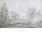 French School Drawing of a Landscape, early 18th C.