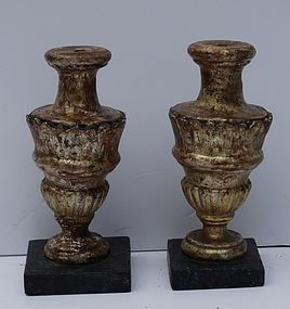 Pair of Italian Gambose and Painted Finials, e19th C