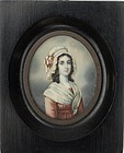 French School Portrait Miniature, dated 1821