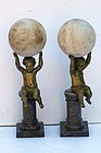 Pair of Bronze and Marble Putti Ornaments
