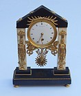 French Bronze and Marble Mantel Clock, early 19th C