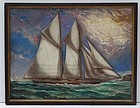 Painted Carved Marine Wall Placque, 20th C