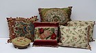 Group of Needlework and Silk Pillows