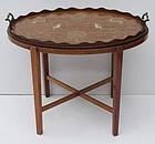 Edwardian Inlaid Oval Tray on stand, circa 1915
