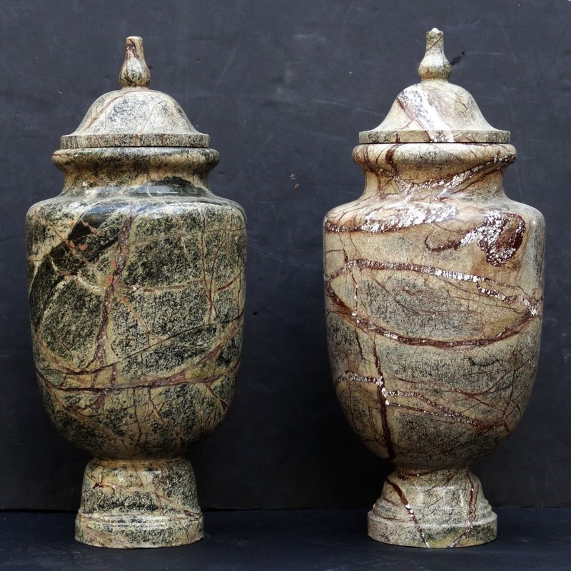 Pair of Figured Marble Urns, 20th C.