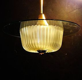 Brass and Glass Modernist Ceiling Fixture, circa 1940