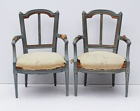 Pair of French Louis XVI style Fauteuil Armchairs