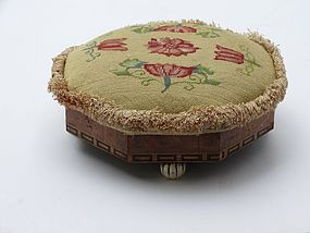 English Foot Stool with Neddlework cover, circa 1840