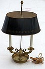 French Bouillotte Lamp With Decorated Tole Shade, early 20th C.