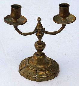 Dutch Brass Double Candlestick, 18th C.