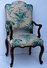 French Louis XV-style Upholstered Armchair, 20th C.