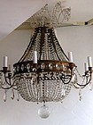 French Empire-style Cut Glass Basket Chandelier, ca. 1925-40