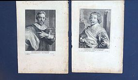 Engravings, Anthony van Dyck, J.B.Barbe, C. Poelenbourch, 17th C.