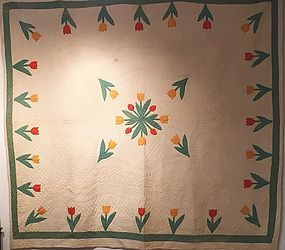American Tulip Patterned Cotton Quilt Ca. 1880