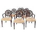 Set of Eight George III Wheel-Back Armchairs