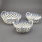 Three Worcester Porcelain Chestnut Baskets, 18thC