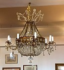 Empire Style Bronze and Cut Glass Fixture, Early 20th Century