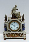 Louis XVI-Style Marble Ormolu and Parian Mantel Clock, late 19thC