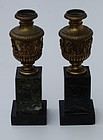 Pair of French Bronze and Marble Cassolettes, 2nd half 19thC