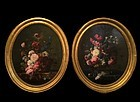 Pair of oval Dutch School Still Life Paintings, 1756