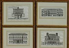 Rossi, Architectural Engravings, Roma, 1670 Set of Four