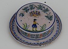 Quimper Pottery Butter Tub, circa 1920