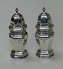 Pair of English sterling silver sugar casters, circa 1900