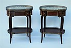 Pair of Louis XVI-Style Kidney Shaped Occasional Tables, Early 20th C