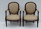 Pair Of Louis XVI Carved Walnut Fauteuil, stamped Tuillard, ca 1770