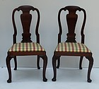 Pair of George II Red Walnut Queen Anne Side Chairs, circa 1750