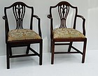 Pair George III Mahogany Shield-back Armchairs ca. 1800