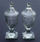 Pair of Anglo-Irish Cut Glass Sweetmeat Urns ca. 1790