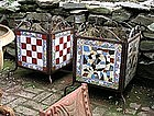 Pair of Wrought Iron and Mosaic Planters, Ca. 1935