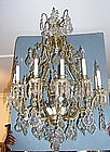 Louis XV-Style Bronze and Cut Glass Fixture, E. 20th C