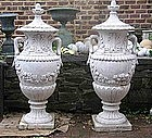 Pair of Massive Carved Marble Urns, early 20th C.