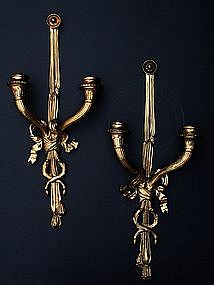 Pair of Louis XVI-Style Ormolu Sconces