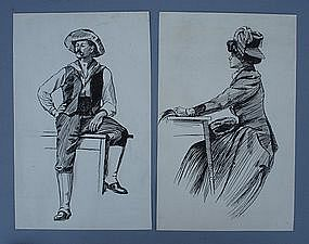 Pair of American School Drawings, circa 1900