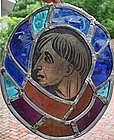 Oval Stained Glass Panel, possibly Roman, 19thC