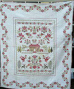 American Embroidered and Pieced Cotton Quilt, 19th C