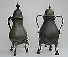 Two Dutch Pewter Chocolate Pots, 18th/19th C
