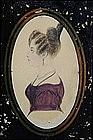 British School Watercolor Profile of  Woman, circa 1840