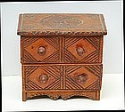 Carved Miniature Folk Art Chest of Drawers, 19th C